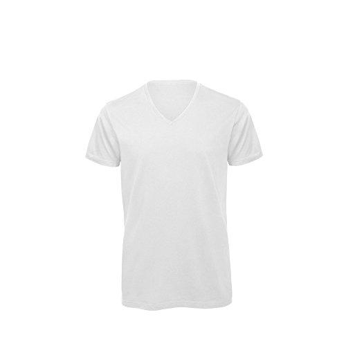 B&C Herren Ökobaumwolle V-Neck T-Shirt Weiß