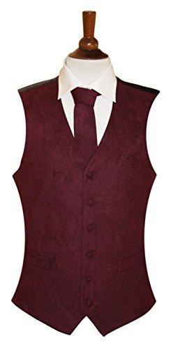 Herren Weste Wildleder-Optik, 10 Farben erhältlich, farblich passende Krawatte erhältlich Rot - Weinfarben