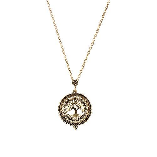 Rrunzfon Vergrößerungsglas Halskette Einfach Retro Halskette mit Leben-Baum-Zifferblatt-Design-Anhänger Minimalist Schmuck Geschenke