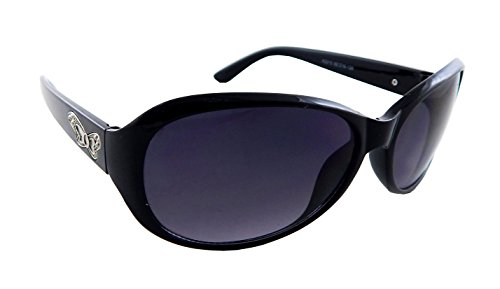 ELS Women Sunglasses, UV400 Oval Shades - ELS-K2210-Black-Black-Shiny