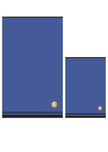 Inter 8907 020 2120 Handtuch- und Gästehandtuch-Set aus Frottee, 100% Baumwolle, 100 x 60 x 1cm, Schwarz/Blau (Inter-fußball)