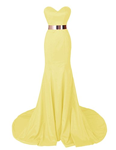 Dresstells Damen Herzform-Ausschnitt Satin Abendkleider Promi-Kleider Gelb