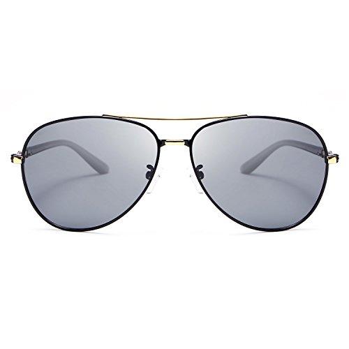 Yiph-Sunglass Sonnenbrillen Mode Polaroid Retro Sonnenbrille Männer Metallrahmen Licht Beweis UV400 Fahren Brillen oculos Sol Shades (Color : Gold)