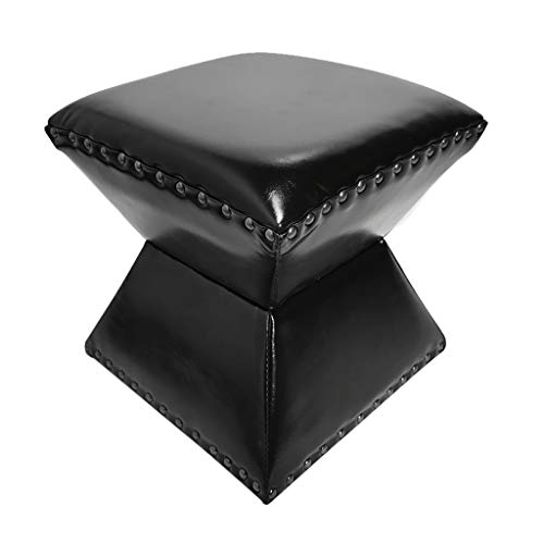 Lwsofa stool Niedriger Hocker Holzsitzhocker Fußstütze Hocker Hocker Mit Faux Luxury Oil Wax Leather Cover, Handgefertigte Nieten Randversiegelung (Farbe : A7)