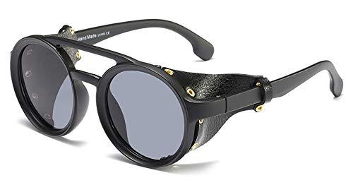 WDXDP Sonnenbrillen Seitenschutz Sonnenbrille Herren Rund Vintage Schwarz Sonnenbrille Für Damen Niet Uv400 Gelb Sommer Wie Im Foto Matt Schwarz Zeigen