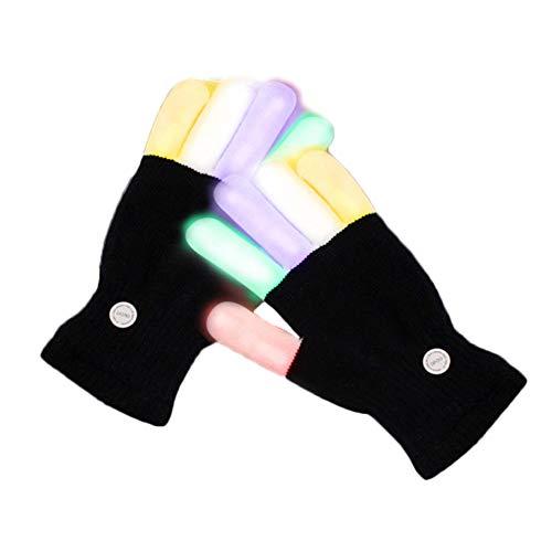 Coomir 1 Paar Rave LED Handschuhe Blinker Leuchtend 7 Farben leuchten die Spitze des Fingers Beleuchtung Handschuhe