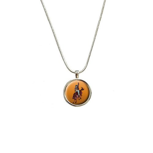 Rodeo Cowboy Orange – Western Pferd Country Anhänger mit Sterling Silber vergoldet Kette (Country-western-rodeo)