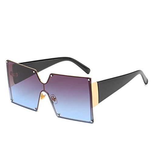 WYJW Einteilige farbige Brille für Herren und Damen XL große, übergroße, superflache, quadratische, zweifarbige Sonnenbrille in Mädchenmode