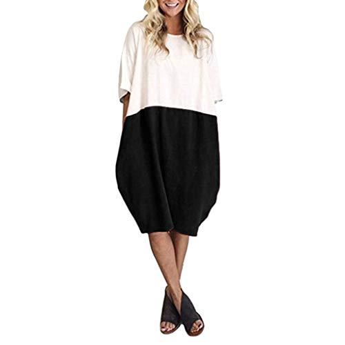 VEMOW Damenmode Tasche Lose Kleid Damen Rundhalsausschnitt beiläufige Tägliche Lange Tops Kleid Plus Größe (Plus Rot Kleid Und Größe Schwarz)
