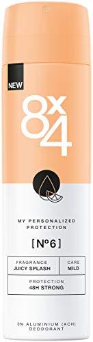 8X4 Deo Spray N°6 Juicy Splash im 1er Pack, 1 x 150ml, Damen Deodorant mit orientalisch-fruchtigem Duft, Deo ohne Aluminium für jeden Hauttyp - Protection Anti Perspirant Deodorant Spray