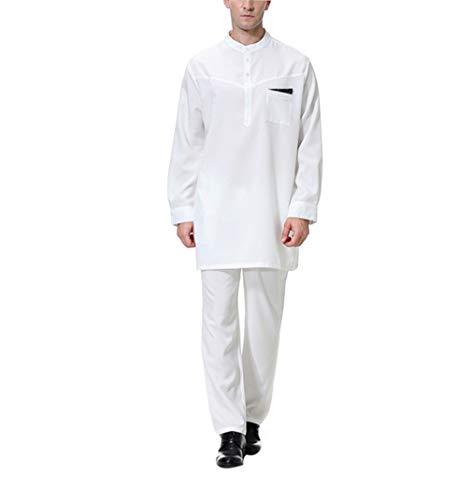 Kostüm Muslim Männer - KRUIHAN Arabisch Kleidung Herren Abaya Muslim - Abaya Maxikleid Dubai Islamische Kaftan Saudi Kostüm Anzug Hemd Hose (M)