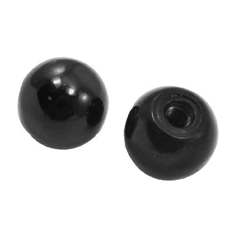 2pcs 5.4mm en métal fileté monté 24mm Dia Boule Levier Boutons Noir