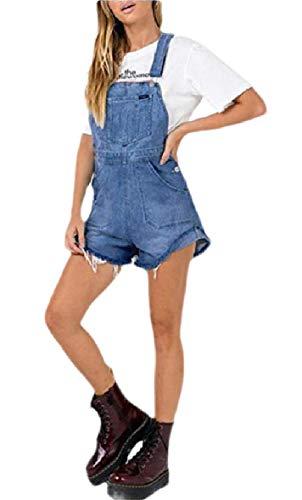 CuteRose Women Wide Leg Highwaist Overalls Shorts Jeans Raw Hem Bib Playsuit Light Blue L Navy Blue Corduroy Pants