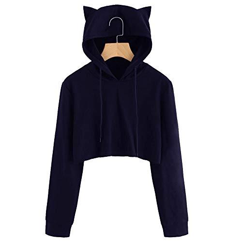 ABsoar Kapuzenpullover Katze Ohr Langarm Hoodie Sweatshirt mit Kapuze Pullover Tops Bluse Slim fit Jumper Langarmshirt