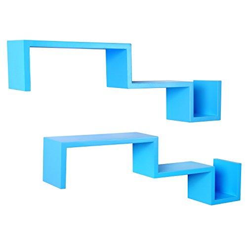 WOLTU RG9245bl 2er Set Wandregal Bücheregal CD Regal Zickzack Hängeregal Regale Holz Blau