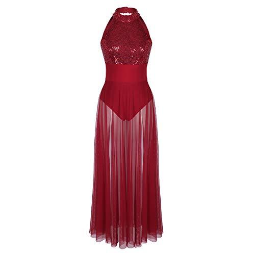 iEFiEL Damen Pailletten Kleider Latein Salsa Tango Neckholder Tanzkleid Ballettkleid Rückenfrei Cocktailkleid Partykleid Burgundy ()