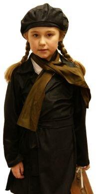 CL COSTUMES 1940er-2. Weltkrieg-Krieg-Mädchen-Phantasie Kleid-Schule UMSIEDLER Mantel & SCHWARZEN Hut Kostüm jedes Alter/Größen - Wie abgebildet, ()