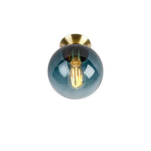QAZQA Art Deco Art Deco Deckenleuchte/Deckenlampe/Lampe/Leuchte messing mit ozeanblauem Glaslampenschirm - Pallon/Innenbeleuchtung/Wohnzimmerlampe/Schlafzimmer/Küche/Metall Rund LED ge -