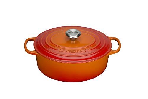 Le Creuset 21178400902430 de Horno Ovalada con Tapa Signature Nature 40 cm, Colour Rojo y Naranja