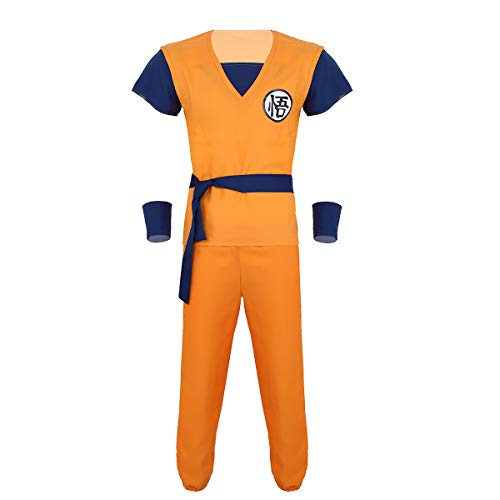 dPois Erwachsene 5tlg. Japanische Anime Kostüm Set Tops Lange Hose mit Armbändern Taillengürtel Cosplay Verkleidung für Halloween Mottoparty Orange Orange XX-Large (Japanische Kostüm Für Erwachsene)