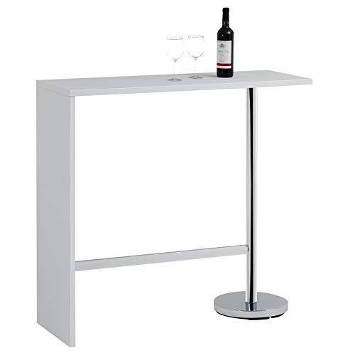 IDIMEX Table Haute de Bar Ricardo Mange-Debout comptoir piètement métal chromé, Plateau en MDF décor Blanc Mat