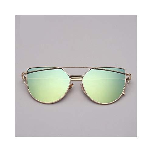 Markendesigner Cat Eye Sonnenbrille Frauen Vintage Metall Reflektierende Gläser For Frauen Spiegel Retro (Lenses Color : Gold green)