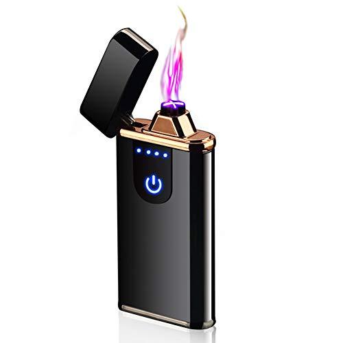 Lichtbogen Feuerzeug, Neue Technologie - Touchscreen Elektro USB Feuerzeug Dual Lichtbogen, Winddichte Flammenlose Elektronische Feuerzeug Stabfeuerzeug für Küche, Grill, Kerzen und Zigaretten