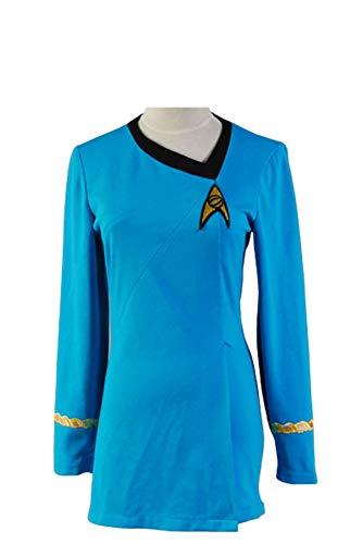Manfis Uniform Kleid TOS Kostüm Blau Damen- Langärmliges, Festes T-Shirt-Kleid mit O-Ausschnitt