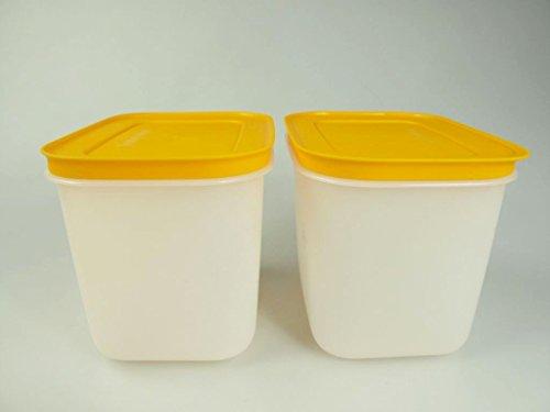 TUPPERWARE Gefrier-Behälter (2) 1,1 L orange-weiß hoch Eiskristall Eis-Kristall P 21621