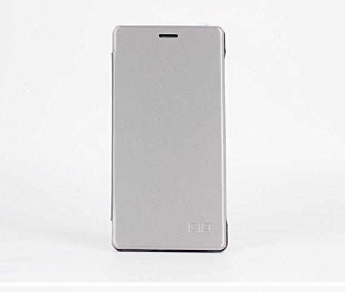 Original Elephone M2 Pu Leder Kunstleder Flip Cover mit Plastik für Elephone M2 Smartphone Handy Tasche Hülle Case Handytasche Handyhülle Schutzhülle Etui (Grau)