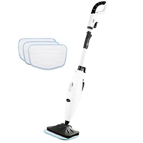 InLife S3033 Dampfbesen verstellbar von 360 Grad für Küche, Teppiche und noch mehr mit 3 Mikrofasertücher Mikrofaser (weiß-schwarz) (groß)