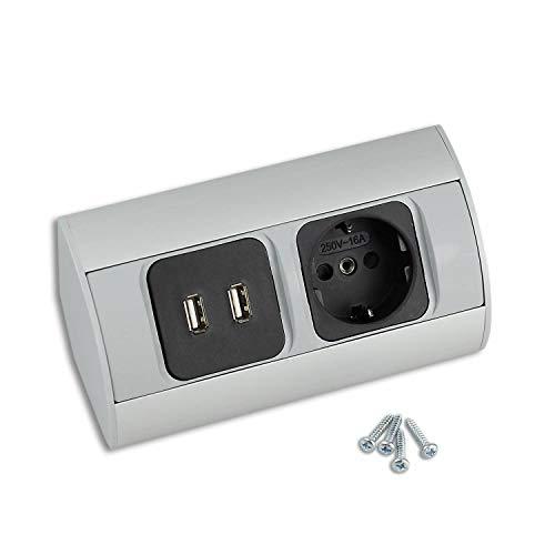 Steckdose für Küche und Büro - hochwertige Ecksteckdose aus Aluminium ideal für Arbeitsplatte, Tischsteckdose oder Unterbausteckdose mit jeweils 1x Standard und 1x USB | 1x Schuko, 1x USB