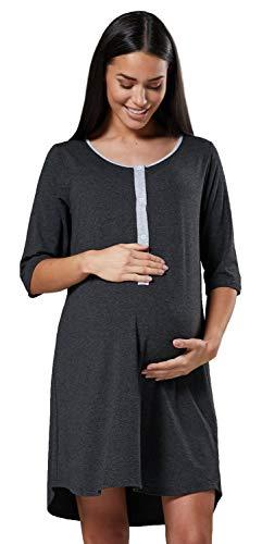 Happy mama donna camicia per parto prenatal prmaman allattamento ospedale.539p (grafite melange, it 44/46, l)