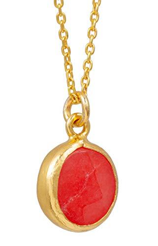 Sarah Bosman Damen Halskette Gold Plate Orange Jade - Kette Runde Platte eingefasster Orangener Edelstein Silber vergoldet - 9 mm Durchmesser - SAB-N03ORAJADg