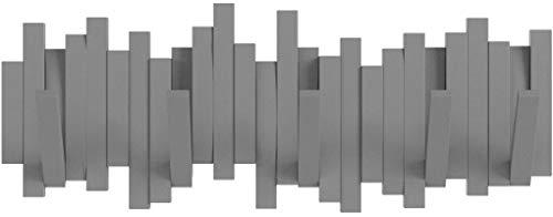 Umbra Sticks Garderobenhaken - Moderne und Platzsparende Garderobenleiste mit 5 Beweglichen Haken für Jacken, Mäntel, Schals, Handtaschen und Mehr, Anthrazit