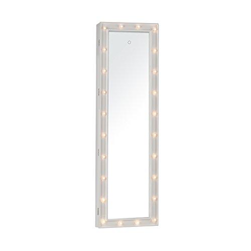 OneConcept Smilla • Schmuckschrank • Schmuckspiegel • Spiegelschrank • Ganzkörper-Spiegel • Maße: 47 x 147 x 37 cm (BxHxT) • Außenbeleuchtung mit 24 LEDs • 2 Schlüssel • weiß