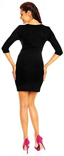 Zeta Ville - maternité robe de grossesse à taille froncée M-3XL - femme - 236c Noir