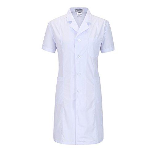 Kurzarm lange abschnitt weiß kittel ärzte krankenschwestern bekleidung arbeitskleidung arbeit (damen, M)
