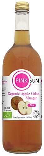 PINK SUN Bio Apfelessig mit Essigmutter 750ml Flaschenglas - Rein Nicht-pasteurisiert - Raw Organic Apple Cider Vinegar with Mother in Glass Bottle Flasche aus Glas