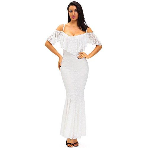 PU&PU Femmes Robes de Mariée / de Travail / Parti Flouncing dentelle Sirène Maxi Robe, Épaules Basse Coupe white