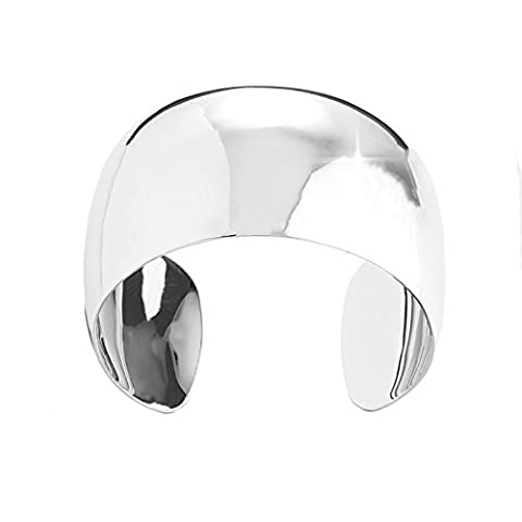 Rhodium Plated Plain Cuff Domed Bangle Silver 40mm PK1