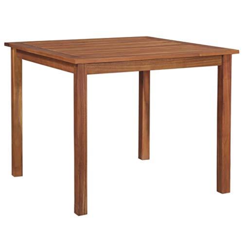 Festnight Garten-Esstisch | Quadratisch Esszimmertisch | Gartentisch | Terassentisch | Holz Tisch | Balkon Esstisch | Massives Akazienholz 90 x 90 x 74 cm