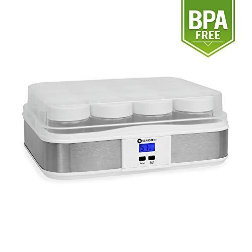 Klarstein Gaia yogurtera (elaboración de Yogur casero, 12 tarros con Cierre de Rosca de 210 ml, Volumen Total de 2,5 litros, Temporizador, Pantalla LCD, Acero Inoxidable) - Blanco