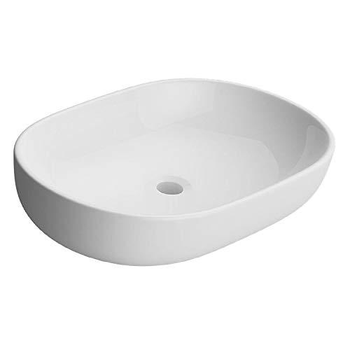 NEG Waschbecken Uno34A (oval) Aufsatz-Waschschale/Waschtisch (weiß) mit schmalem Rand und Nano-Beschichtung