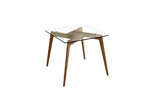 ambiato Esstisch Janis 90x90cm Wildeiche Massiv + Glasplatte rechteckig Glastisch Küchentisch Schreibtisch