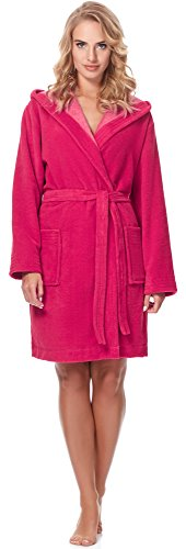 Merry Style Damen Bambusfasern Bademantel MSLL1004 (Coral/Hellrosa(2134), M)