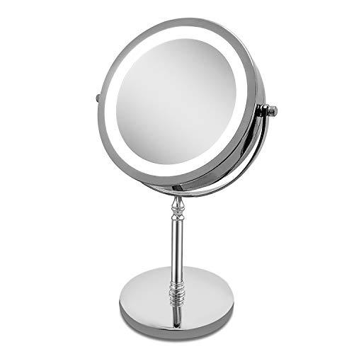PIMILA Beleuchteter Kosmetikspiegel Schminkspiegel groß mit LED Licht, normal und 10-Fach Vergrößerung, Tischspiegel Make up Spiegel mit Beleuchtung -Rund