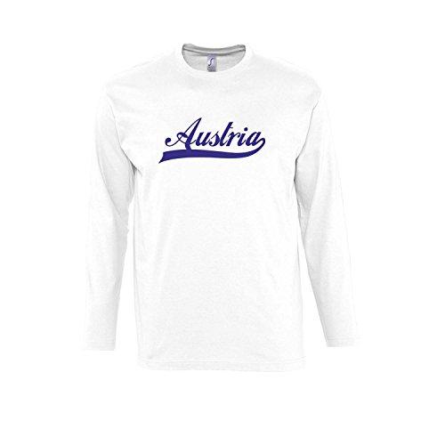 Austria Oldschool Österreich Fussball EM WM FAN - Herren Langarm Longsleeve T-Shirt S-XXL , White-blau , L
