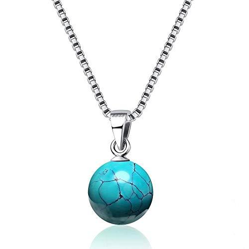 Silber Halsketten Für Frauen Naturstein Anhänger Trendy Feine Partei SchmuckTürkis ()