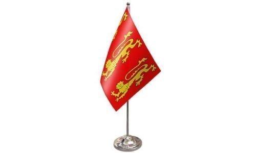 Richards Satin (King Richard 1st Satin Flagge mit Chrom Basis Schreibtisch Flagge Set + 59mm knopf-abzeichen)